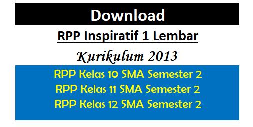 Download RPP Inspiratif 1 Lembar K-2013 Kelas 10,11,12 SMA Semester 2 Terbaru