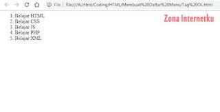 Cara Membuat List Dengan HTML