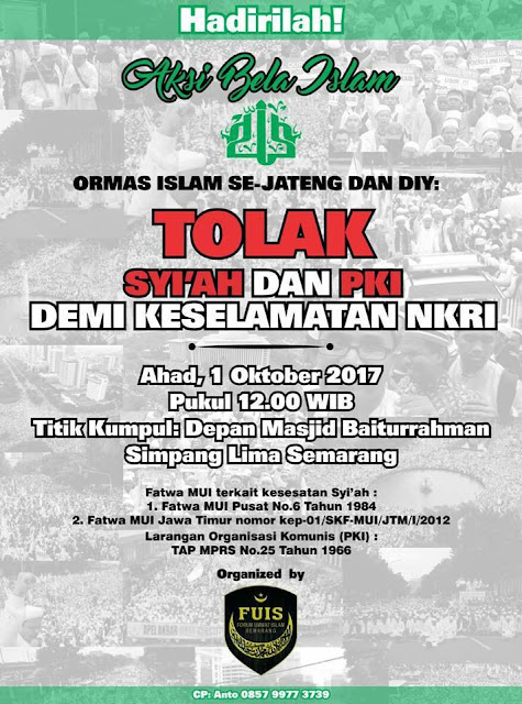 Hadirilah Event: Ormas Islam Se-Jateng dan DIY Tolak Syi'ah dan PKI demi Keselamatan NKRI