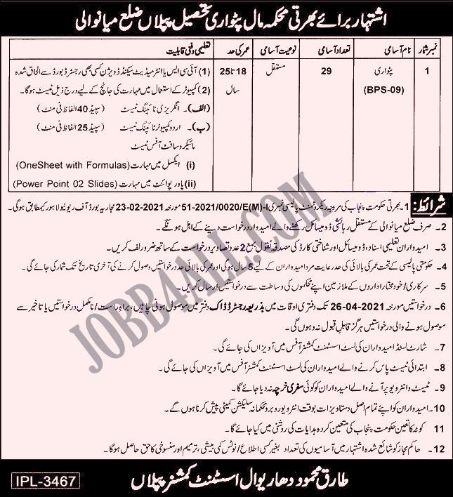 Latest Jobs 2021 Advertisement for Patwari in Maal Department Mianwali