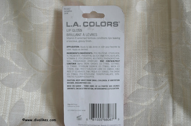 L.A. Colors Lip Gloss Paradise Pink Ingredients