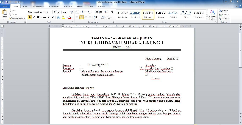 Contoh Surat Permohonan Bantuan Dana Ramadhan