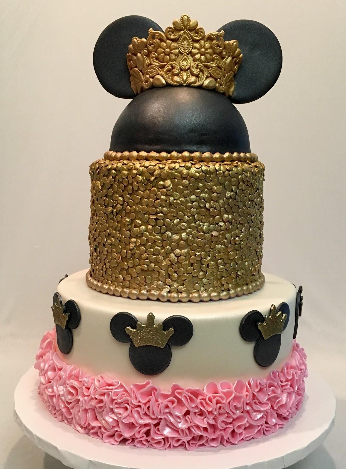 Mymonicakes Princess Minnie Mouse Cake With Tiara Gold