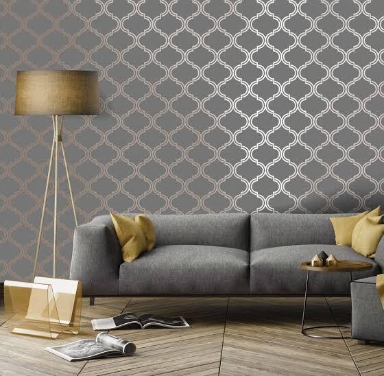 Grey And Mustard Living Room Wallpaper Home Design Ideas