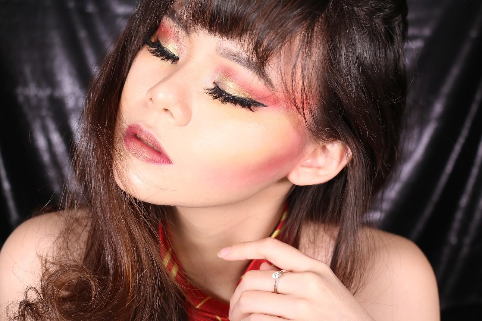 tutorial, makeup tutorial, makeup indonesia, makeup harry potter, gryffindor makeup, harry potter, potterhead, makeup halloween, halloween makeup, fire makeup, red makeup, sexy makeup