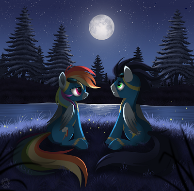 Rainbow Dash after practice with Soarin', a male member of The Wonderbolts.