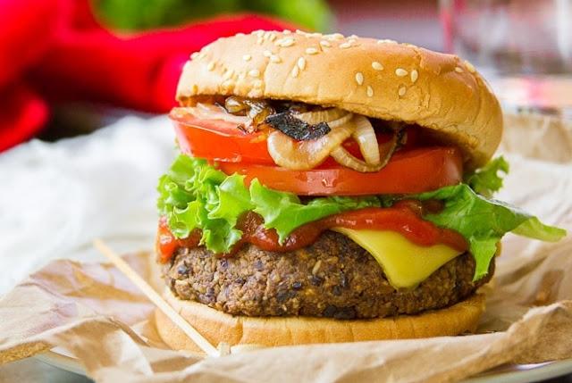 """Beefy"" Vegan Black Bean Walnut Burgers"