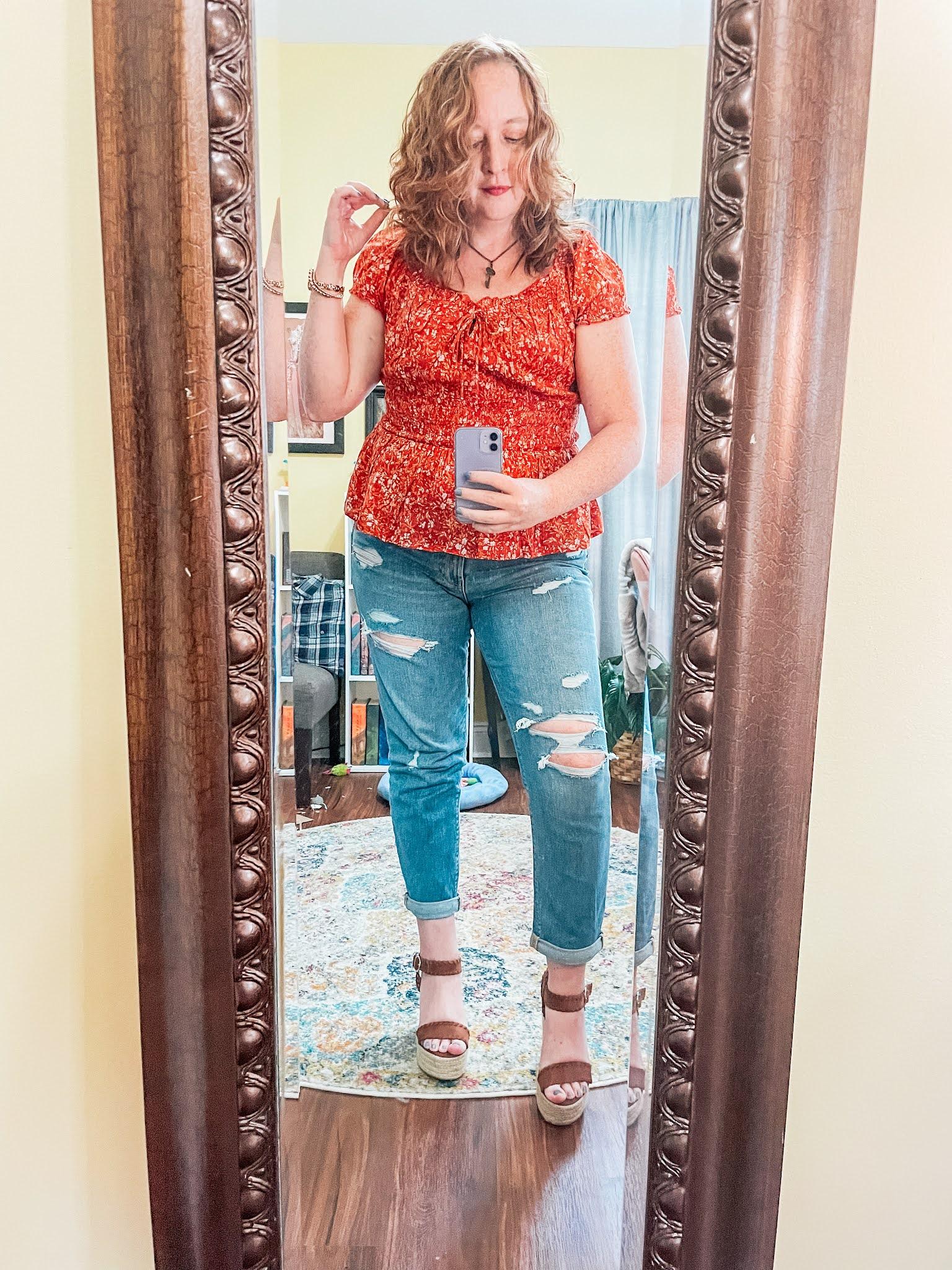 orange-floral-smocked-waist-peplum-top-boyfriend-jeans