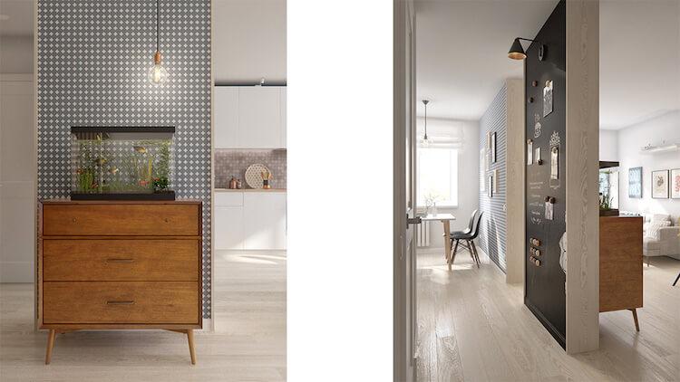 Reforma de un pequeño apartamento, papel pintado y pared imantada en la cocina