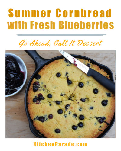 Summer Corn Bread with Fresh Blueberries ♥ KitchenParade.com, a real seasonal treat, a skillet of warm corn bread studded with fresh blueberries.