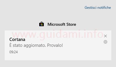 Windows 10 notifica Cortana è stato aggiornato