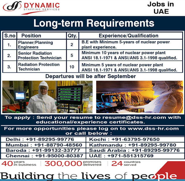 Planner, Planning Engineer, Radiation Protection Technician Vacancies in UAE. Dynamic Staffing Services is hiring