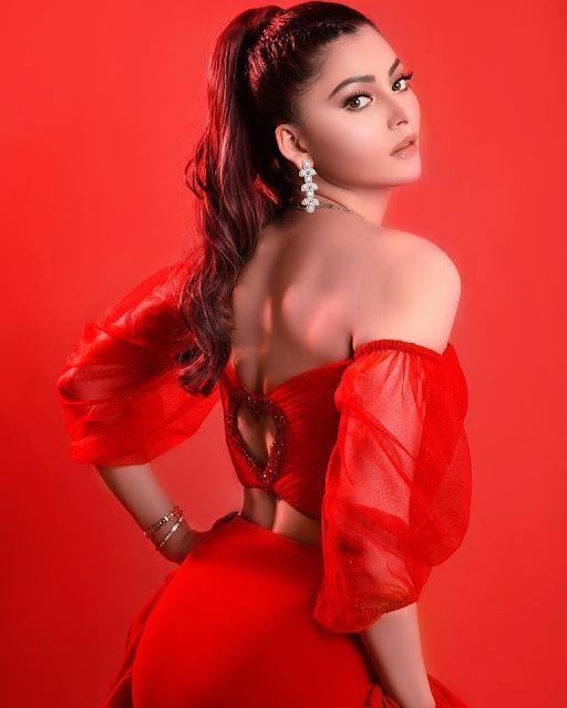 Urvashi Ratuela Sizzling Red Dress Photos