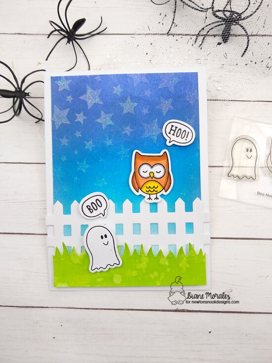 Boo!  Hoo!  by Diane features Cascading Stars, Land Borders, and Fence by Newton's Nook Designs; #newtonsnook