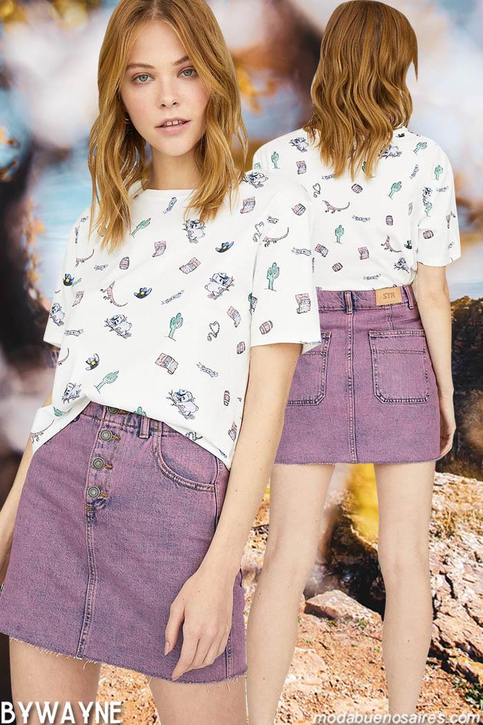Remeras y minis de jeans basico urbanos juveniles de la moda primavera verano 2020.