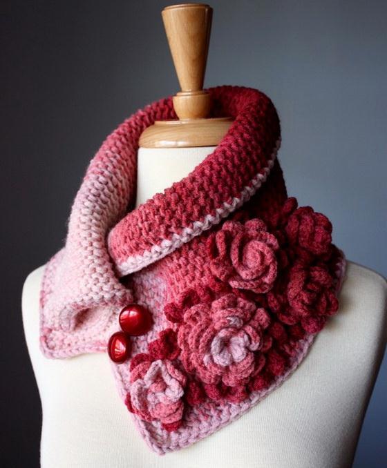 Crochet neck warmer, Crochet cowl - with crochet flowers