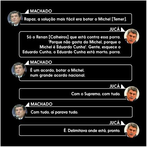Plano de Jucá para o golpe do golpista Michel Temer contra Presidenta Dilma