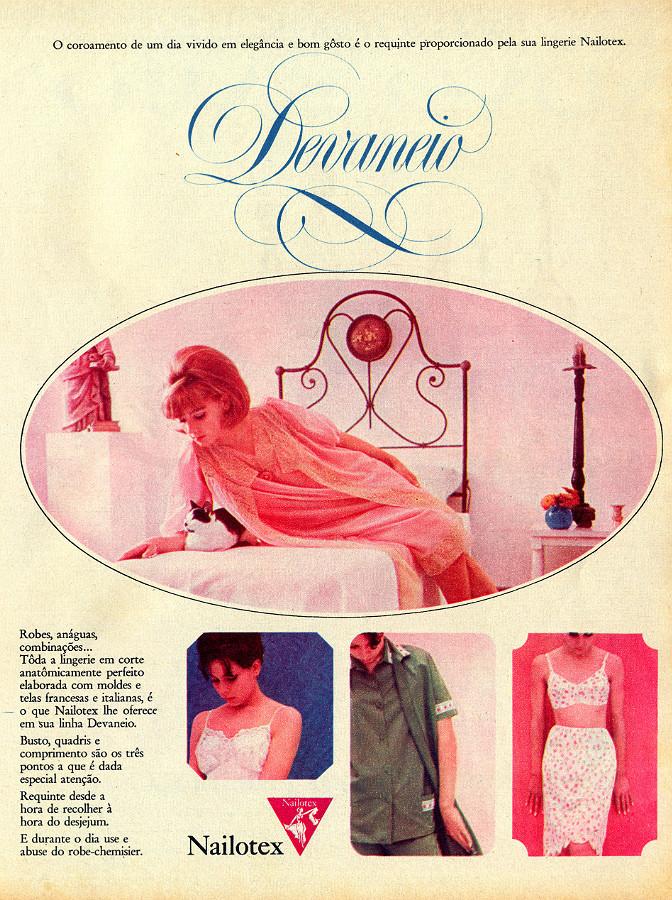 Campanha da Nailotex para promover sua linha de roupas íntimas em meados dos anos 60