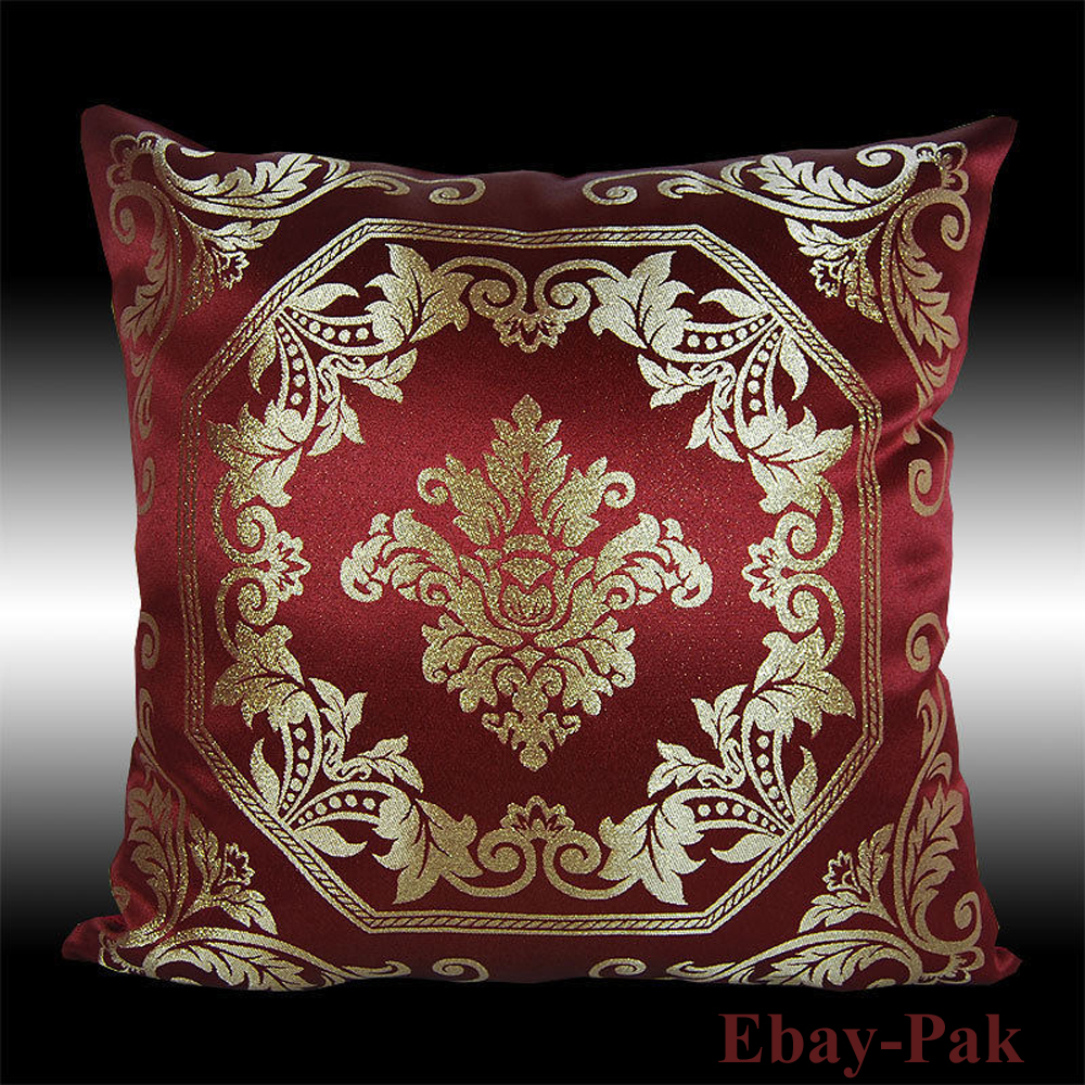 18X Gold Damask Burgundy Pillow Cases Cushion Covers - 18 Inches ...