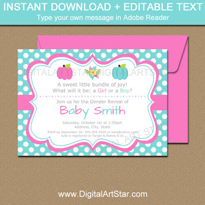 Aqua little pumpkin invitation template with pink accents