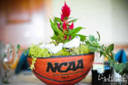 Leah jacobe weddings scoring a wedding basketball themed basketball theme centerpieces would somehow look like these or you can play around with the theme colors of your choice thats associated with the sport junglespirit