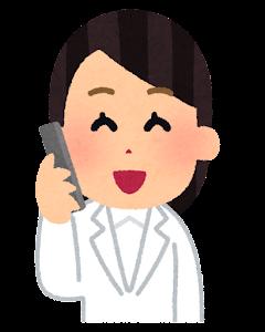 電話を掛ける医師のイラスト(女性・笑う)