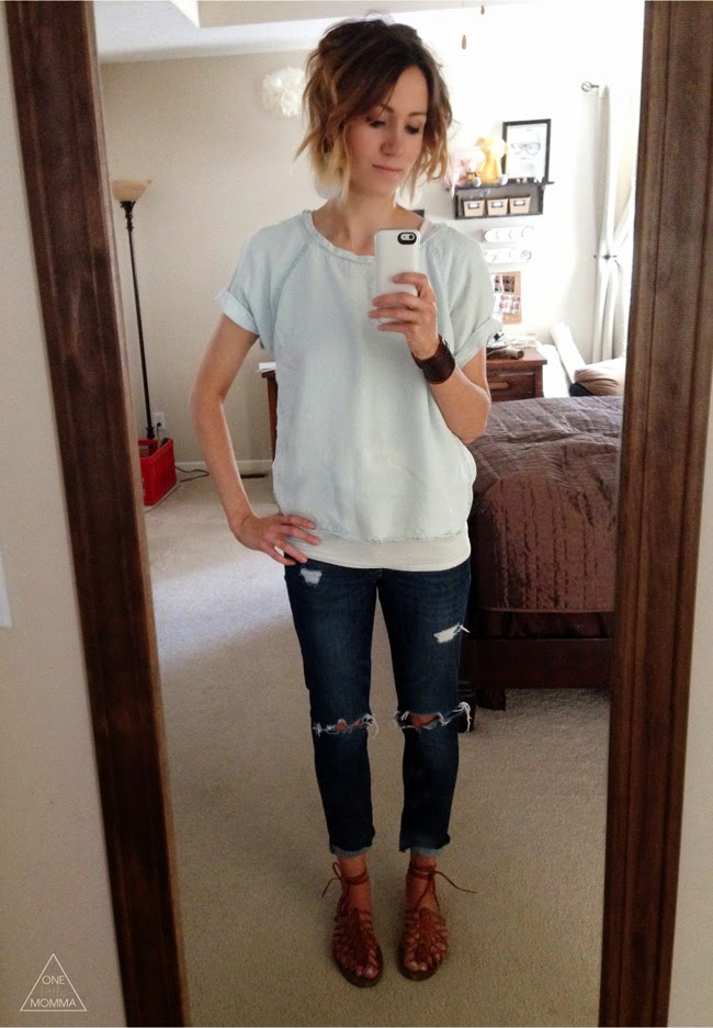 Chambray tee, distressed denim, laced brown sandals