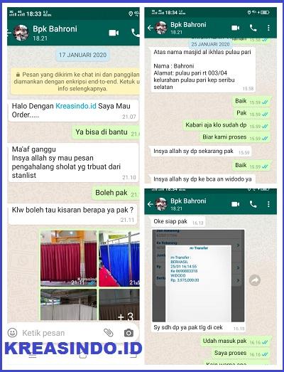 Hijab Masjid Stainless pesanan Bpk Bahroni di Kepulauan Seribu