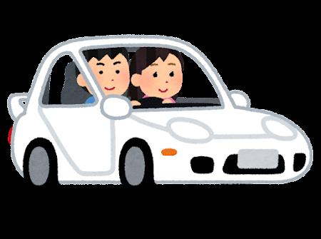スポーツカーを運転する人のイラスト(カップル)