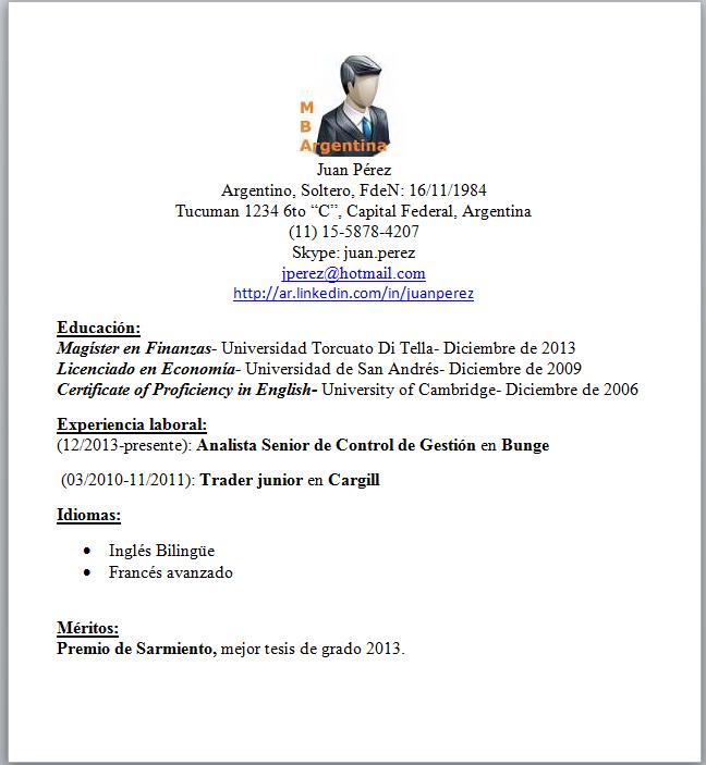 modelo de curriculum vitae argentina