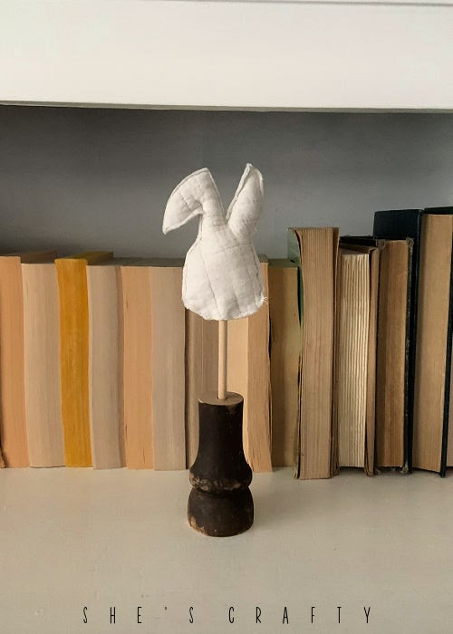 Quilted Bunny on a stick, home decor for Easter.