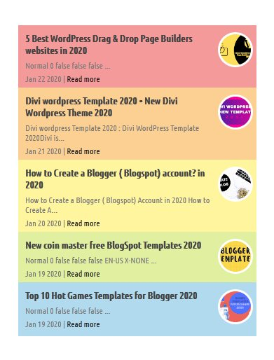Stylish Circle Colorful Style Recent Post Widgets for Blogger with Image Thumbnails
