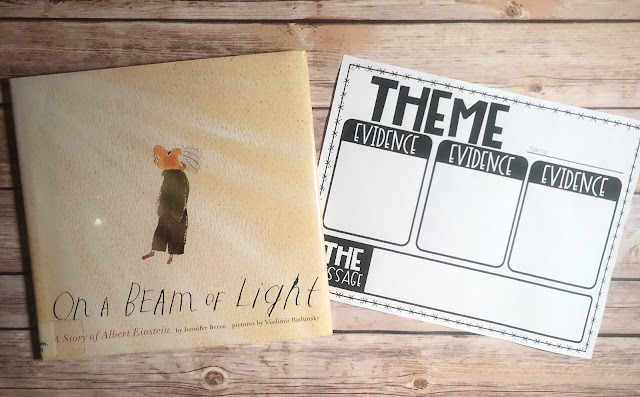 "Mentor Text with text ""On A Beam of Light"" and Graphic Organizer with text ""Theme"""
