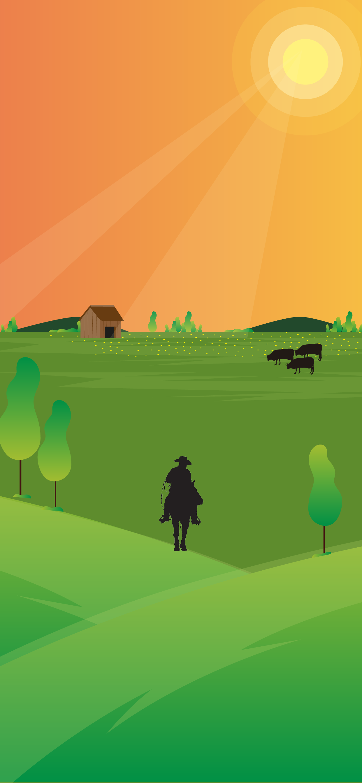 Beautiful farm wallpaper of a cowboy silhuete in a minimalist style papel de parede fondo de pantala