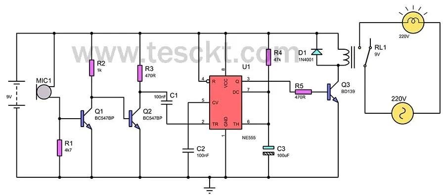 Clap switch circuit 220v