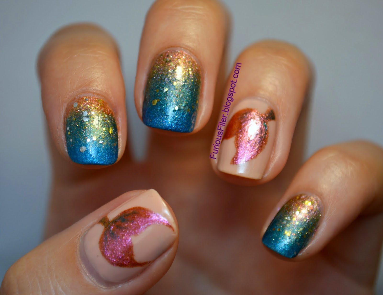 mermaid glitter nail art