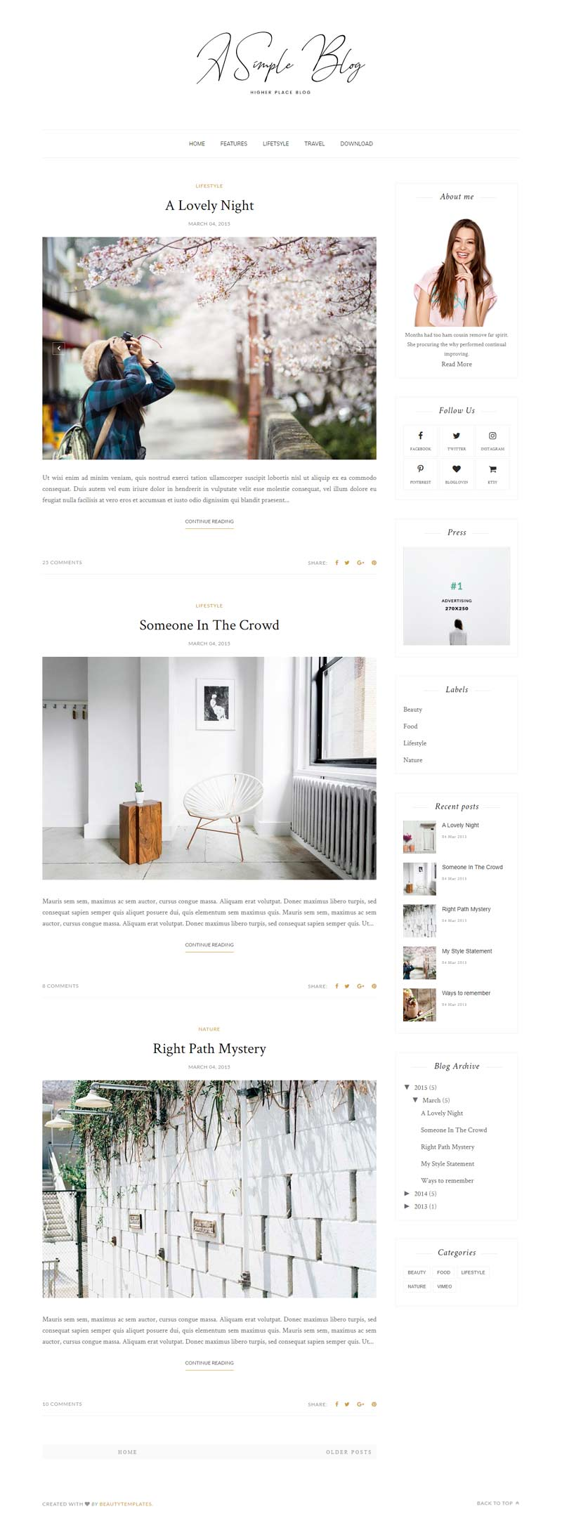A Simple Blog Blogger Template