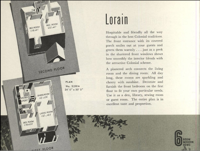 b&w image of 3-D style floorplan for Sears Lorain in the 1940 catalog