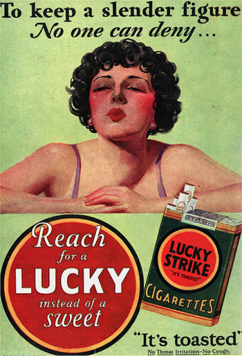 feminine cigarette advertising in the 1920s and 1930s Advertisers homed in on women's desire to keep in good shape, creating the   women or prostitutes with cigarettes, and in a 1920 survey, british women's  an  early 1930s advert (left) claiming cigarettes help you lose weight  in the post- war years adverts suggested smoking was a feminine activity that.