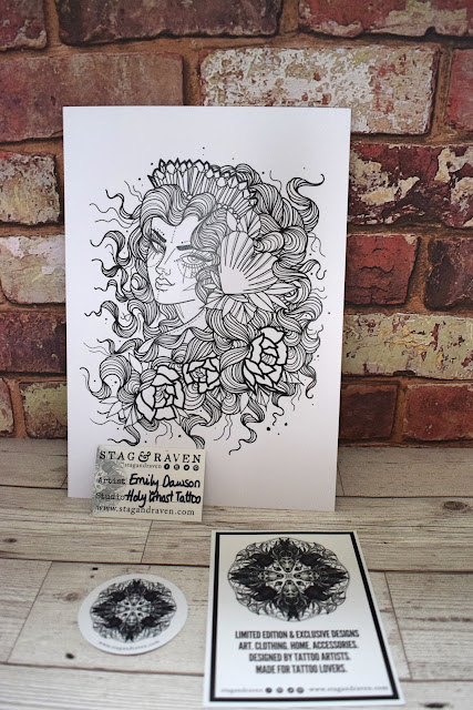 Stag and Raven mermaid art print by Emily Dawson