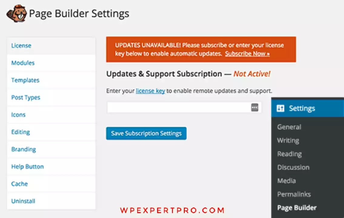 Page builder settings