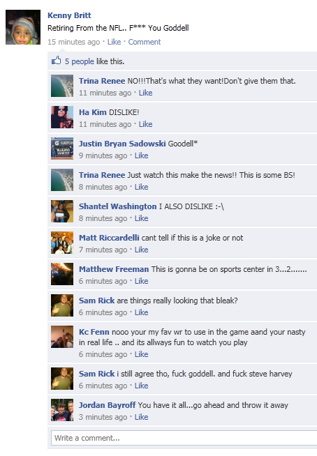 Kenny Britt Retires on Facebook, Tell's Roger Goodell Off