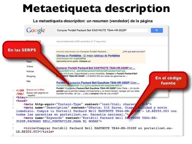 meta etiqueta description en los serps y en el código de la página
