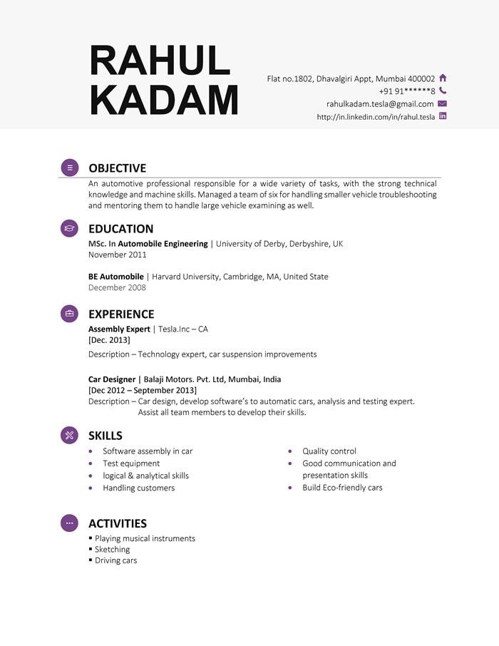 Executive resume format