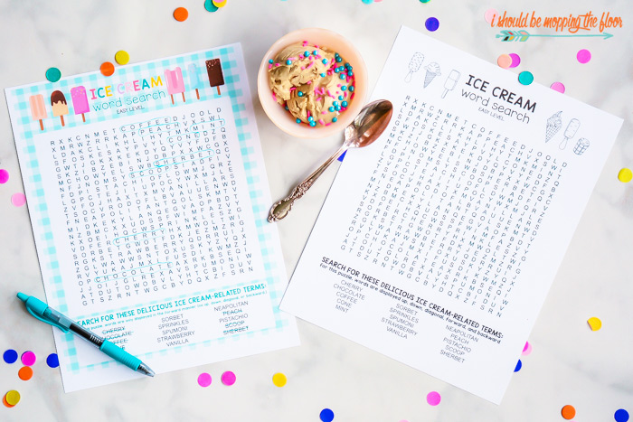 Ice Cream Word Search