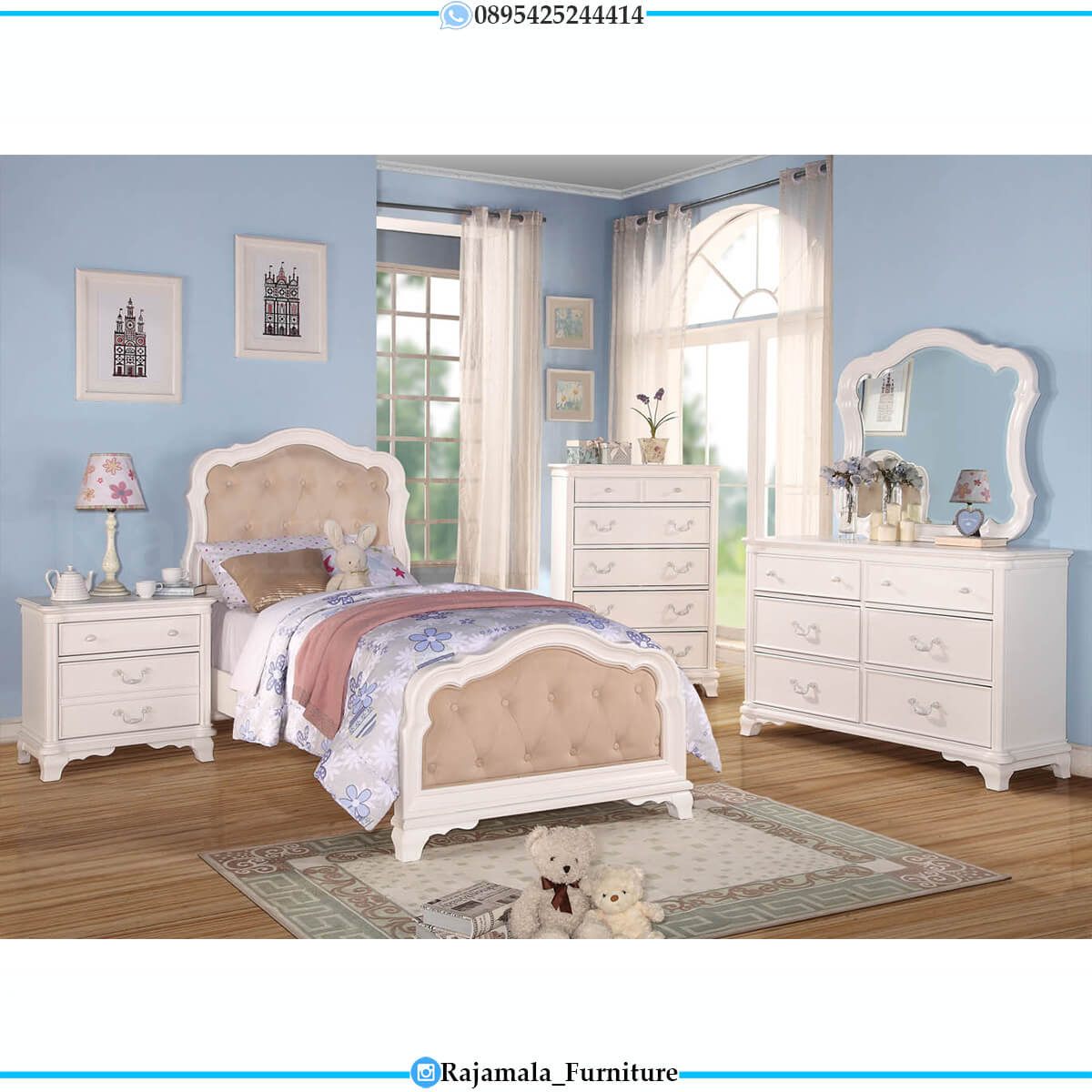 Harga Tempat Tidur Anak Terbaru Putih Duco Modern Color Jepara RM-0636