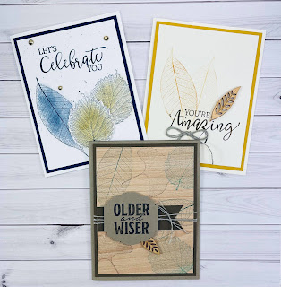 Three cards with Loyal Leaves by Stampin' Up!®.  I made these three cards on my weekly Facebook Live.  I also used the new Create With Friends set and the Natural Touch Specialty Paper.  Video and measurements on the blog.  #StampTherapist #StampinUp #LoyalLeaves