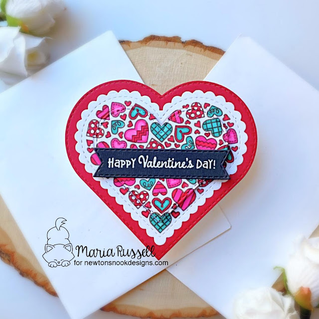 Heart Shaped Valentine card by Maria Russell | Heartfelt Love Stamp set, Heart Frames Die Set and Banner Trio Die Set by Newton's Nook Designs