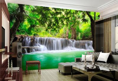 Tapet vattenfall fototapet tropisk regnskog vardagsrum fondtapet 3d