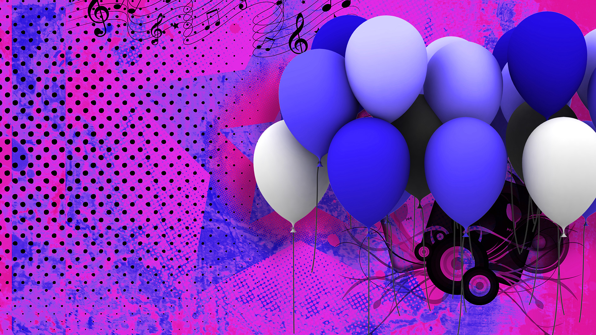 Purple and Blue themed Balloon Background for presentations